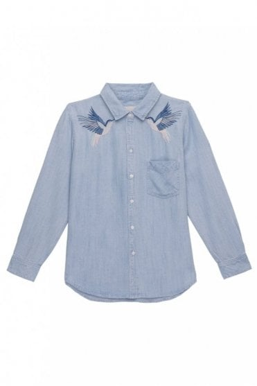 Ingrid Shirt in Hummingbird Embroidery
