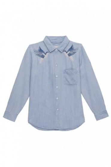 Ingrid Shirt in Hummingbird Embroidery