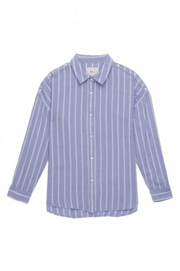 Josephine Shirt in Bluebonnet White Stripe