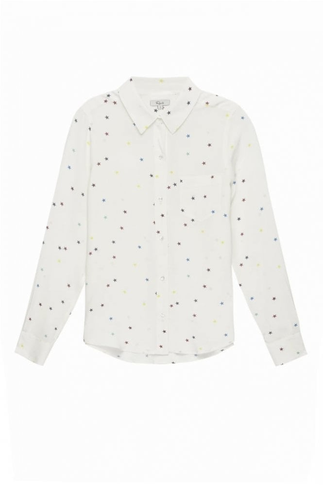 Rails Kate Shirt In Rainbow Stars On White