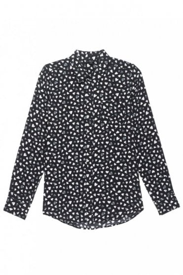 Kate Silk Shirt in Black Corazon