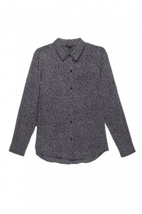 Kate Silk Shirt in Charcoal Cheetah