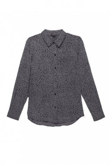 Kate Silk Shirt in Charcoal Cheetah