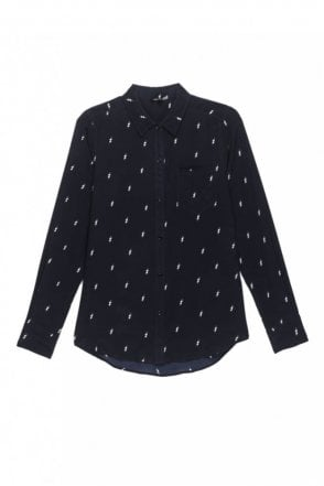 Kate Silk Shirt in Navy Lightning