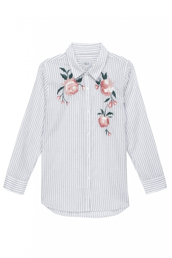 Rails Nevin - Pink Stripe Floral Embroidery
