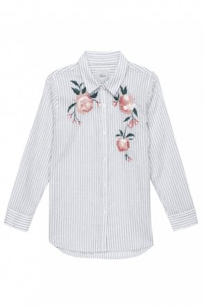 Nevin  - Pink Stripe Floral Embroidery