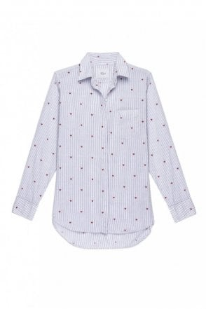 Taylor Cotton Shirt in Girona Stripe with Hearts