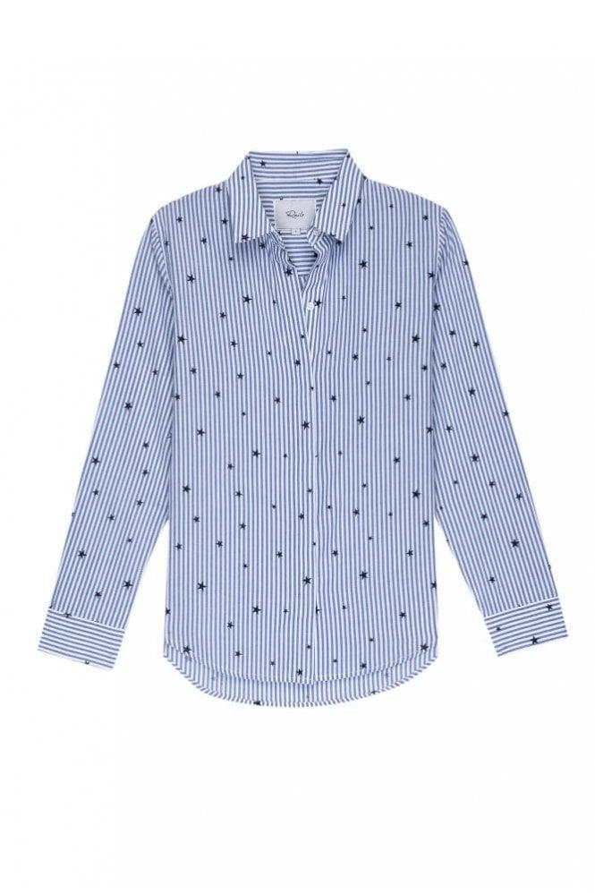 Rails Taylor Shirt in Flocked Navy Stripe
