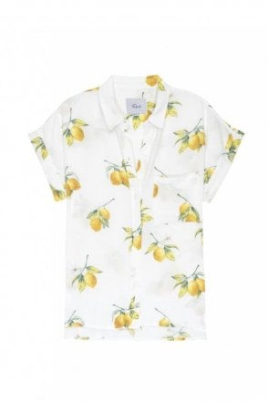 Whitney Shirt in White Lemons