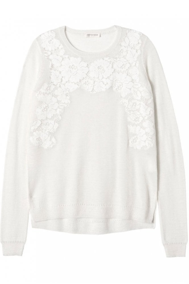 Rebecca Taylor Placed Lace Pullover in Chalk