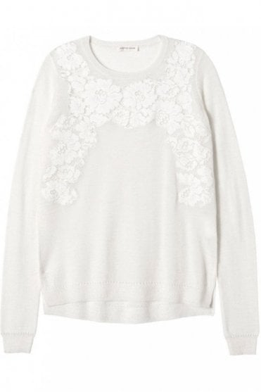 Placed Lace Pullover in Chalk
