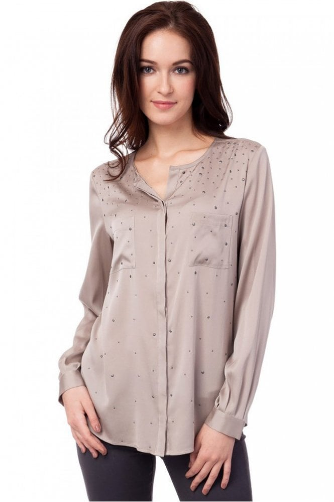 Repeat Cashmere Beaded Silk Blouse in Sand