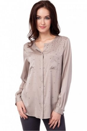 Beaded Silk Blouse in Sand