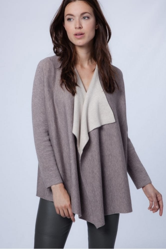 Repeat Cashmere Cardigan with Batwing Sleeves in Stone