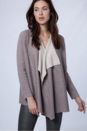 Cardigan with Batwing Sleeves in Stone