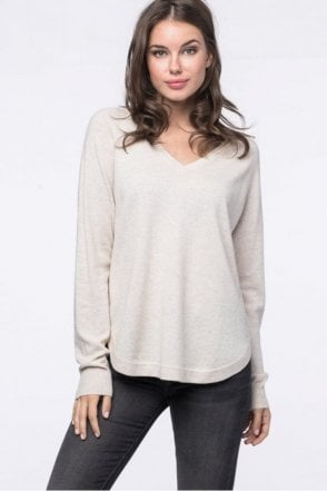 Cashmere Blend Sweater in Light Beige