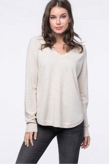 Cashmere Blend Sweater in Light Beige