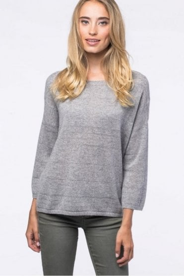 Cashmere Plaid Sweater in Light Grey
