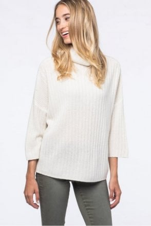 Cashmere Rib Knit Sweater in Cream