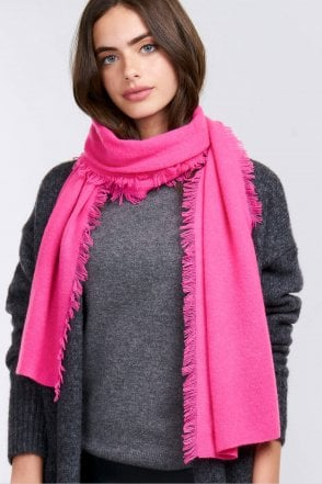 Cashmere Scarf with Fringe in Pink