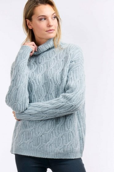 Chunky Cable Knit Cashmere Sweater in Wasabi