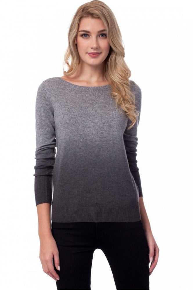 Repeat Cashmere Dip-Dye Effect Sweater in Lt Grey