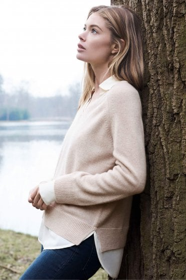 Layered Look Cashmere Sweater in Beige