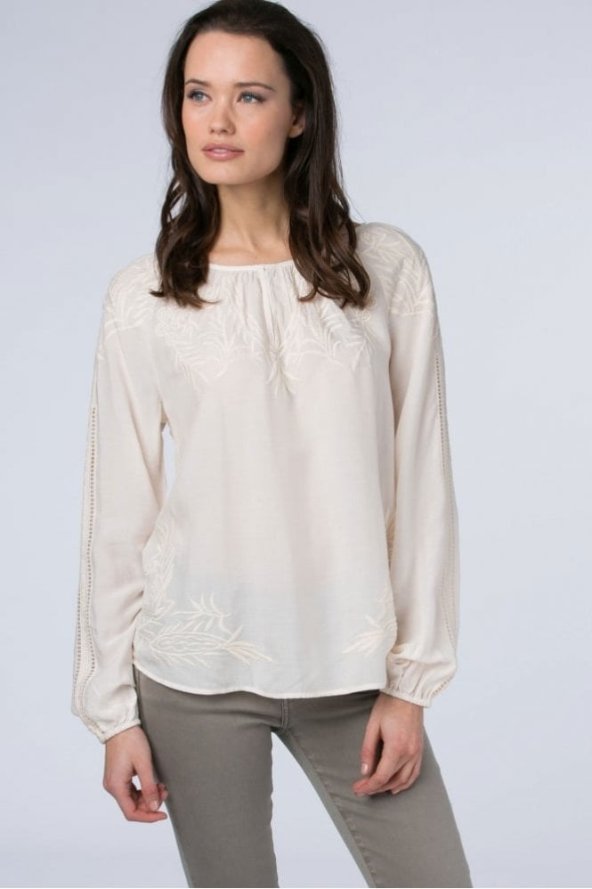 Repeat Cashmere Raglan Blouse with Embroidery in Pearl