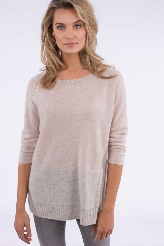 Repeat Cashmere Raglan Sweater with Colourblock in Shell