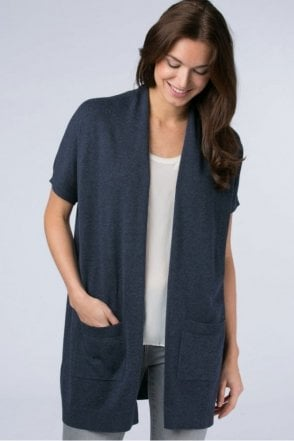Sleeveless Oversized Cardigan in Ink Melange