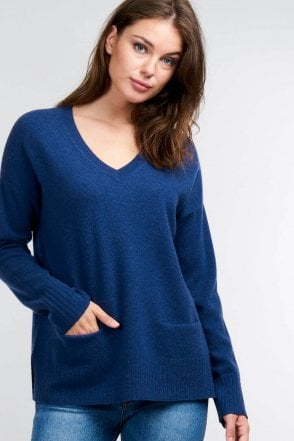 V-Neck Jumper with Pockets in Dark Blue