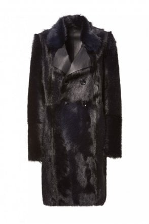 Deep Blue Fur Coat