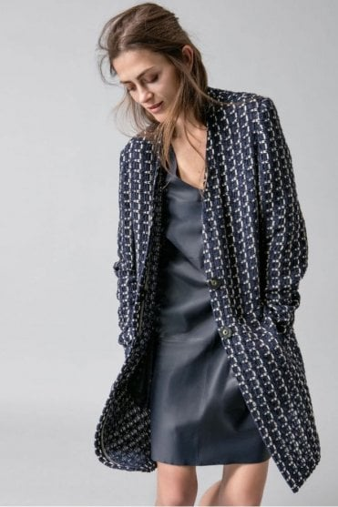 Patterned Coat in Navy