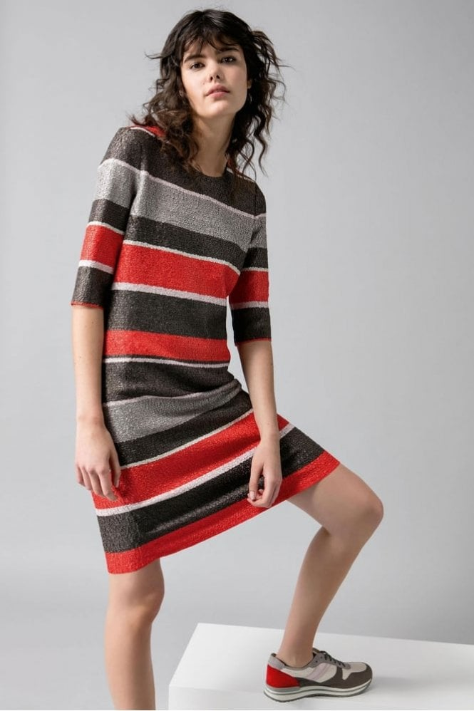 Riani Textured Stripe Dress in Red/Taupe