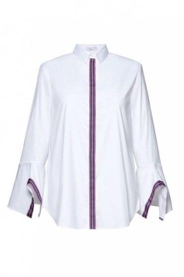 White Stripe Trim Shirt