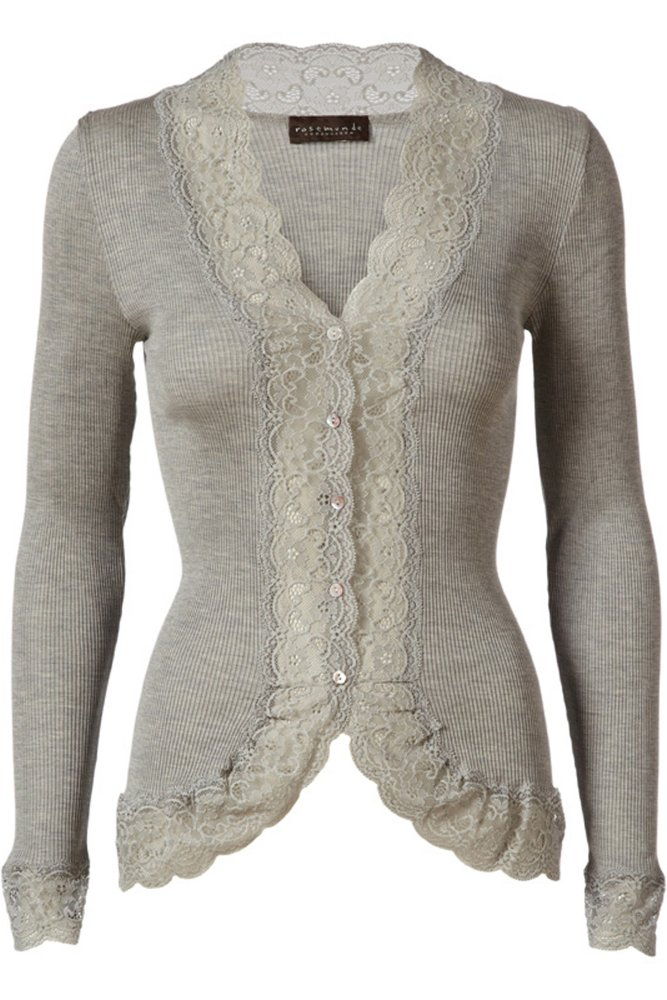 Rosamunde Light Grey Melange Silk Lace Cardigan at Sue Parkinson