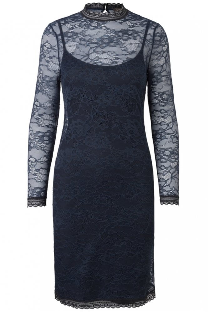 Rosemunde Beautiful Lace Dress in Navy with Black