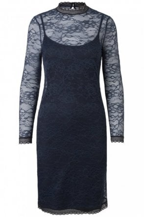 Beautiful Lace Dress in Navy with Black