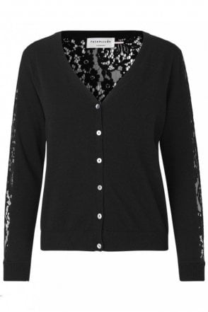 Cardigan with Lace Back in Black