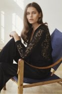 Rosemunde Cardigan with Lace Back in Black