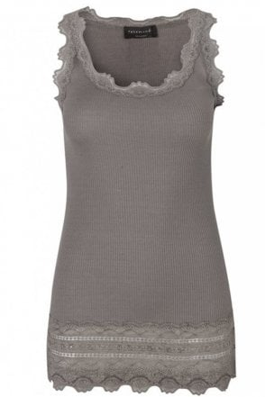 Driftwood Wide Vintage Lace Tank Top With Lace Bottom