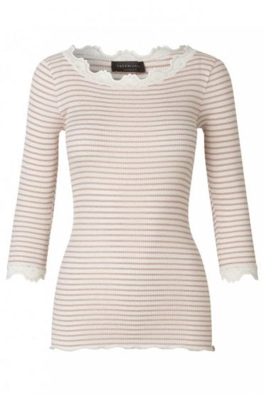Lace Shirt in Silk with Boat Neck in Ivory Misty Rose Stripe