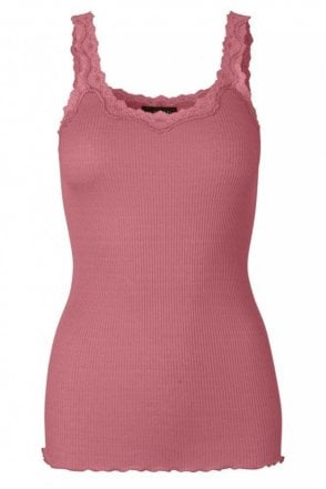Lace Tank Top in Silk in Baroque Rose