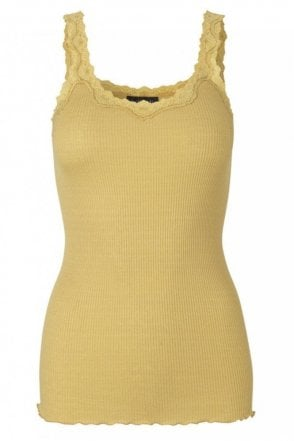 Lace Tank Top in Silk in Cocoon