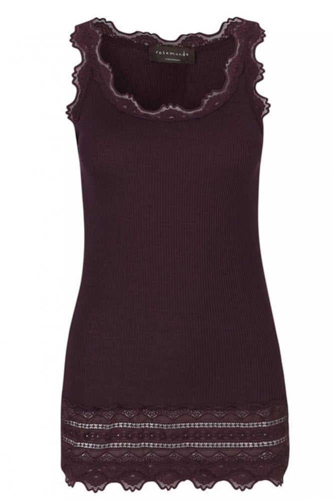 Rosemunde Mulberry Wide Vintage Lace Tank Top with Lace Bottom