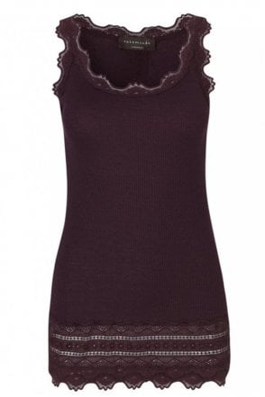 Mulberry Wide Vintage Lace Tank Top with Lace Bottom