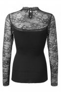 Rosemunde Silk Blouse with Lace in Black