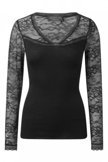 Silk Blouse with Lace in Black
