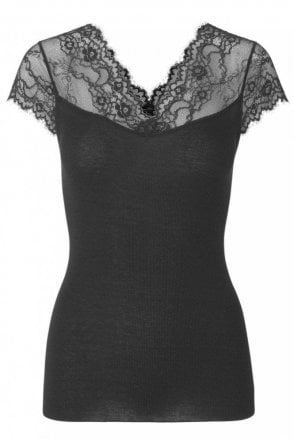 V-Neck T-Shirt with Lace in Black