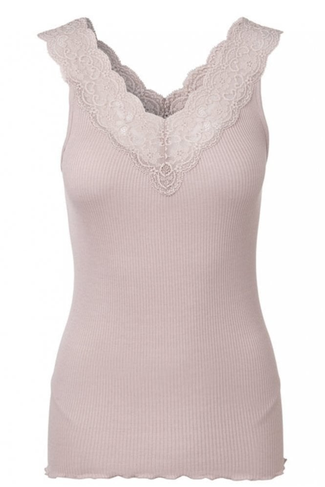 Rosemunde Vintage Powder Top With Wide Lace Straps